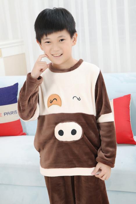 (超萌 么么哒)秋冬季小男孩法兰绒休闲卡通小猪儿童睡衣