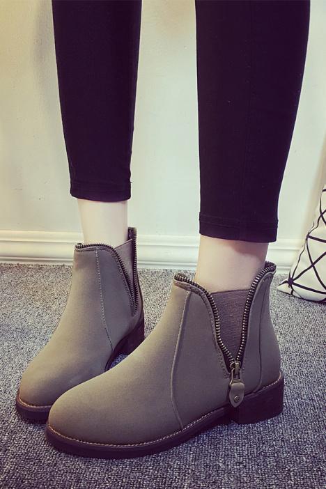 秋冬新品 欧美英伦中跟复古潮流短靴