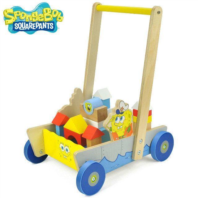 特宝儿海绵宝宝航海积木儿童益智玩具 木制宝宝学步车积木大块