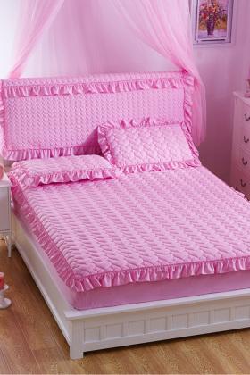 夹棉加厚全棉缎格圆床床笠,此款有薄款和夹棉加.