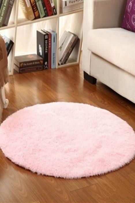 包邮长毛圆形丝毛客厅卧室厨房床边电脑椅地毯瑜伽地垫防滑脚垫