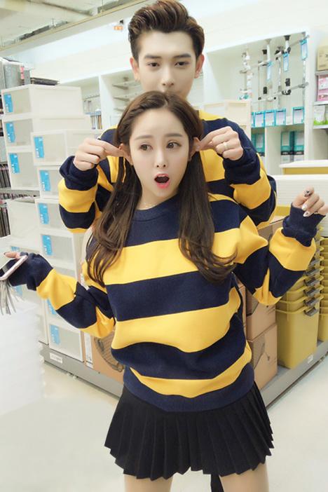 韩版条纹小蜜蜂加绒情侣装卫衣