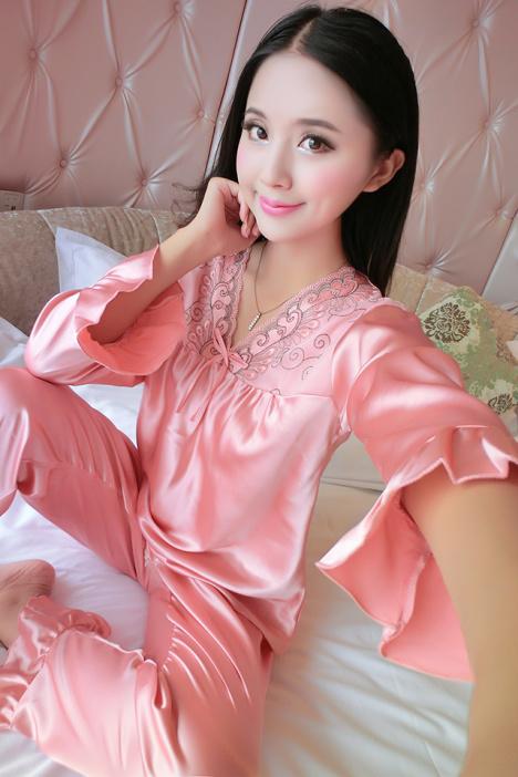 性感真丝睡衣,丝绸睡衣套装,春季睡衣,初夏家居服,初秋真丝睡衣