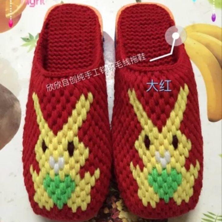 时尚纯手工钩织毛线拖鞋