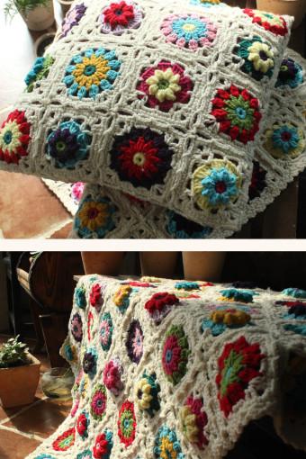 森女手工钩织毯子纯手工毯 毛线钩花拼色撞色 花朵毯子立体花毯
