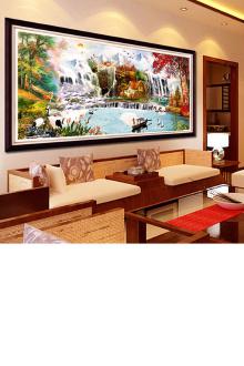 品新款流水生财聚宝盆十字绣画客厅会议厅大幅财源滚滚$85-春天十图片