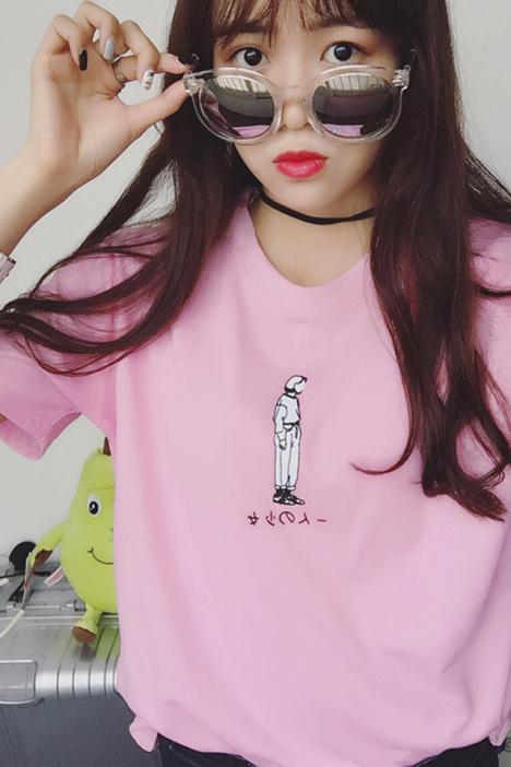 韩国手绘女生图片粉色