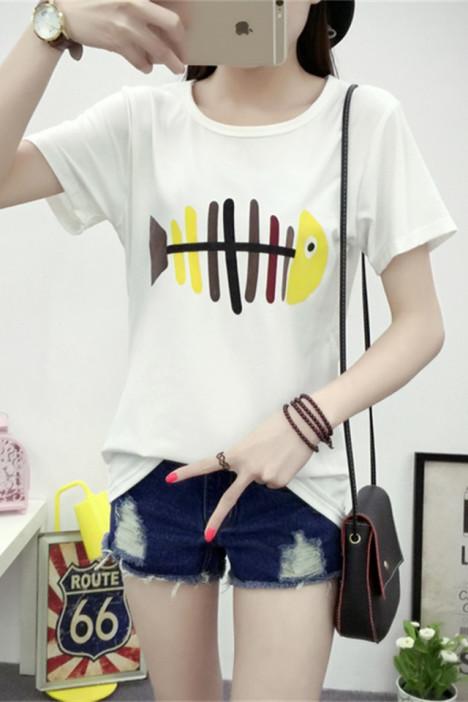 夏新款修身显瘦卡通女可爱校园风短袖t恤
