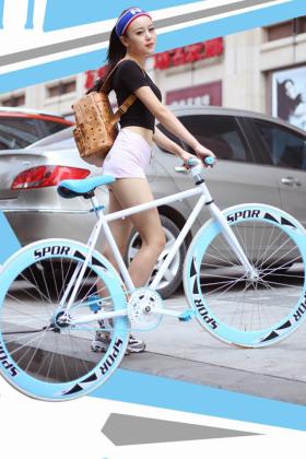 死飞自行车女男款豹纹26寸死飞车倒刹学生单车活飞自行车赛车$347.图片