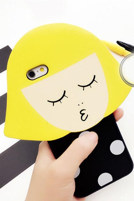 嘟嘴小情侣男孩女孩iphone6s手机壳