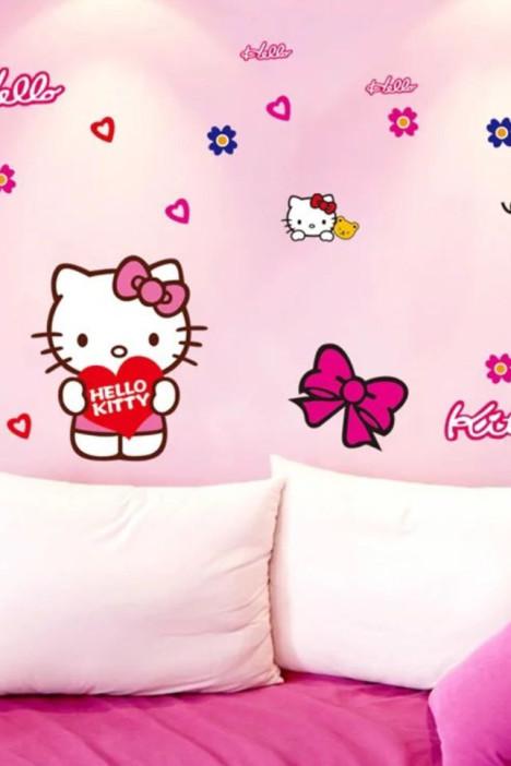 可移除墙纸纸贴画hello kitty kt凯蒂猫贴纸
