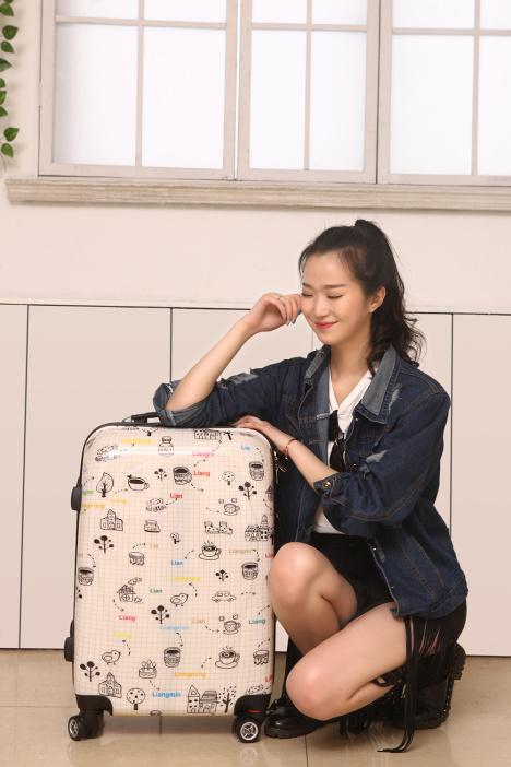 亮鸣个性印花简笔画万向轮拉杆箱学生时尚行李箱旅行箱登机箱 -包包
