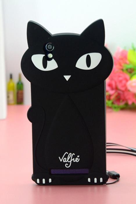 金立f103卡通黑猫带挂绳硅胶套 -null 3C数码配件 手机保护套 壳 手机