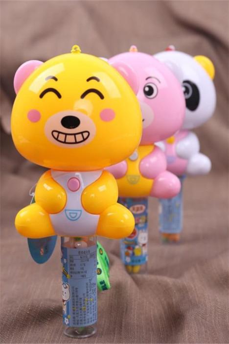 新款可爱卡通造型小熊音乐玩具糖会发光彩色压片糖送儿童六一礼物