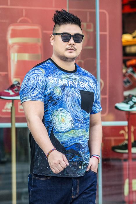 【胖胖哥】加肥加大码男装胖子梵高星空印花宽松短袖t恤3299