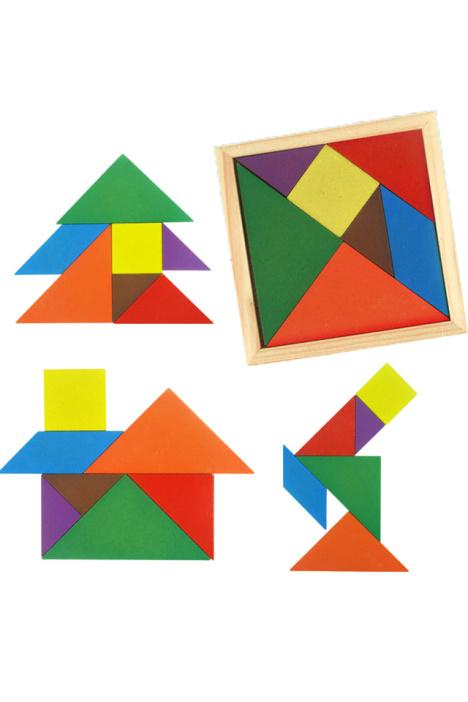 儿童木质七巧板diy益智拼板拼图玩具 幼儿木制积木益智玩具