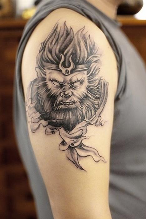 【高端】猴子孙悟空防水花臂大图纹身贴纸图片