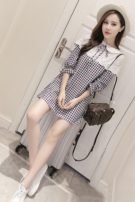 【阿朵 超韩版可爱小公主蕾丝拼接格纹连衣裙】-衣服