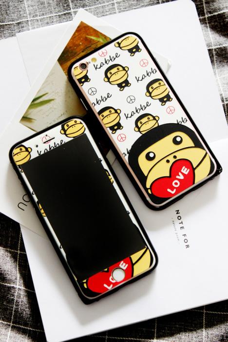 安逸猴苹果6s卡通钢化膜iphone6plus边框手机壳套装