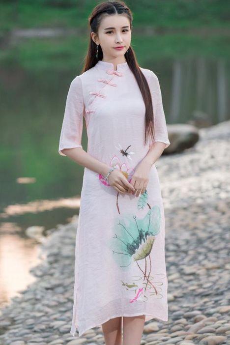 中国风手绘改良盘扣旗袍棉麻连衣裙