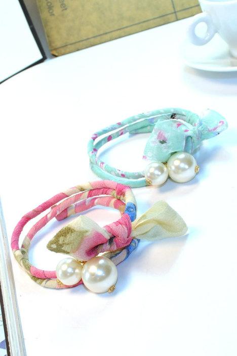 蝴蝶结,珍珠,碎花,盘发器,韩版女图片