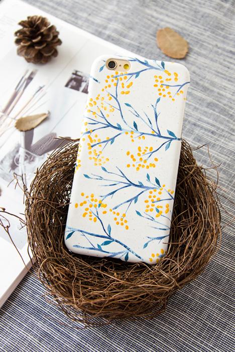 复古森系黄色叶木苹果高质感手机壳