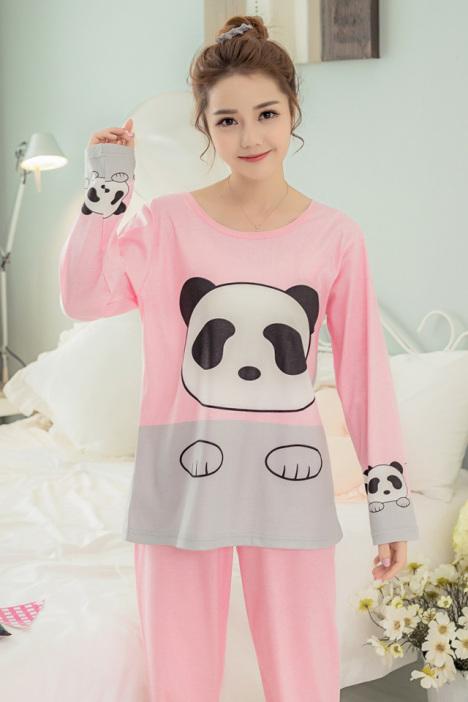 【萌萌哒】韩系甜美棉质可爱熊猫春秋长袖睡衣女套装