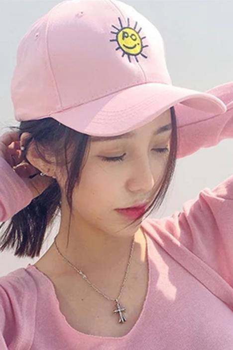 韩版新款时尚表情棒球帽 男女情侣弯檐鸭舌帽 女生夏季潮字母