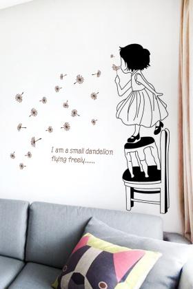 校墙面装饰墙纸贴画自粘蒲公英女孩$9.8-素色无纺布墙纸卧室搭配