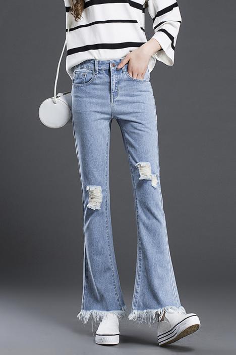 休闲,修身,破洞,韩版,牛仔裤