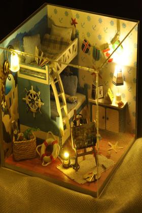 diy小屋夏之海手工制作小房子模型拼装女孩玩具
