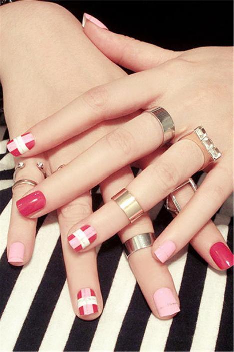 粉色红色短款美甲假指甲贴片可爱美甲小清新淑女文艺范美甲成品