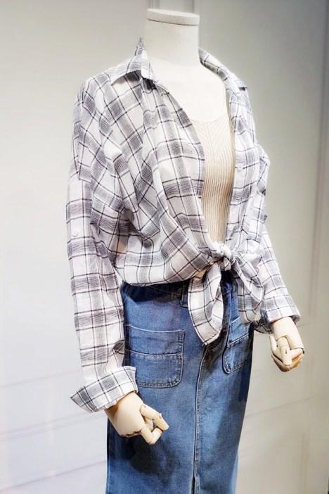 宽松bf风格子衬衫 针织背心 半身牛仔裙三件套套装