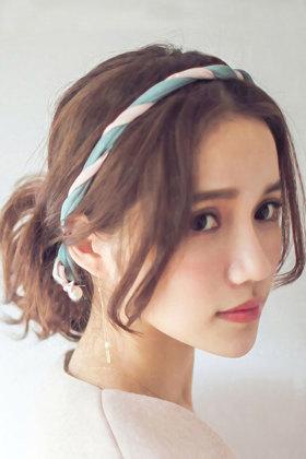珍珠蝴蝶结碎花丸子头盘发器图片