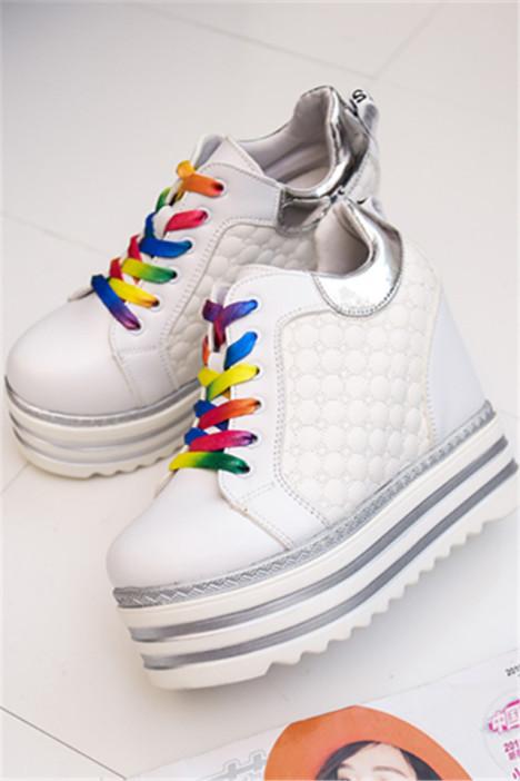 彩色鞋带时尚百搭内增高单鞋女厚底鞋松糕鞋韩版系带小白鞋