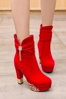 秋冬季红色婚靴粗跟婚鞋新娘鞋高跟鞋子冬天水钻鞋短靴结婚女靴子