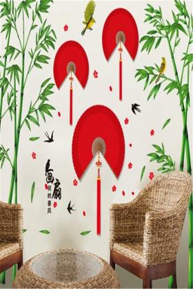 粘贴画粘面条-中国风墙贴纸贴画卧室房间自粘墙壁纸客厅电视背景墙面墙上装饰品$