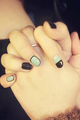 潮绿混黑美甲成品假指甲贴美甲贴指甲贴美甲贴片指甲贴片美甲