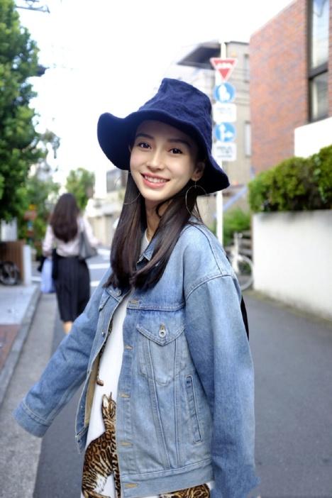 angelababy杨颖同款街拍同款时尚印花牛仔外套