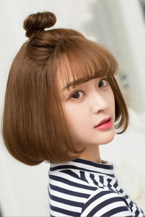 韩系女生空气刘海短卷发假发短发bobo丸子头中分梨花头奶奶灰