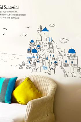 立体墙贴纸贴画创意宿舍寝室墙壁纸自粘卧室客厅背景墙欧式装饰品$