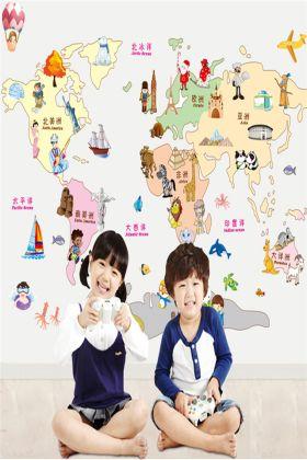 幼儿园墙壁贴纸儿童房卧室装饰卡通动物贴画世界地图墙贴3件25$9.8