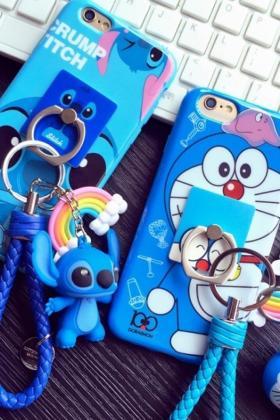 可爱哆啦A梦挂件苹果6s卡通6plus支架挂绳5s手机壳$28.0-苹果6手机图片