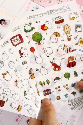 卡通蠢萌圆滚兔可爱萌系土豆兔贴纸透明pvc手账装饰贴