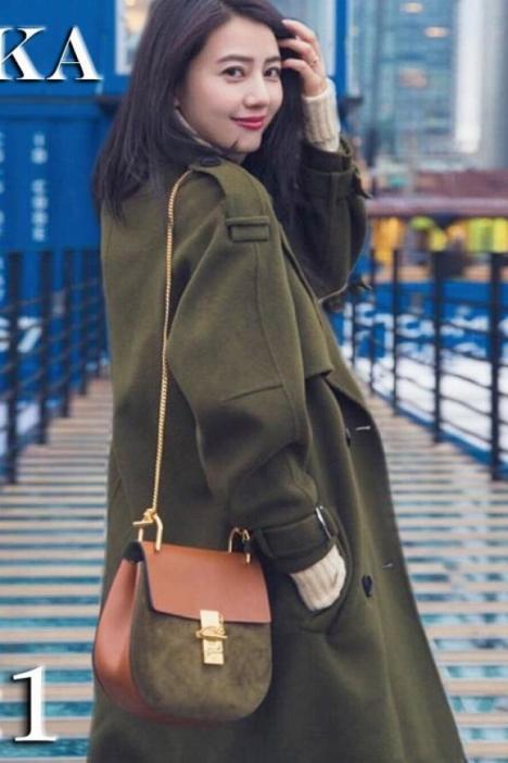 2016新款秋冬手工双面羊绒大衣女中长款高圆圆同款宽松毛呢子