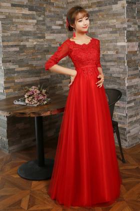 孕妇敬酒服2016新款秋冬新娘结婚礼红色高腰中长款长袖晚礼服$169.图片