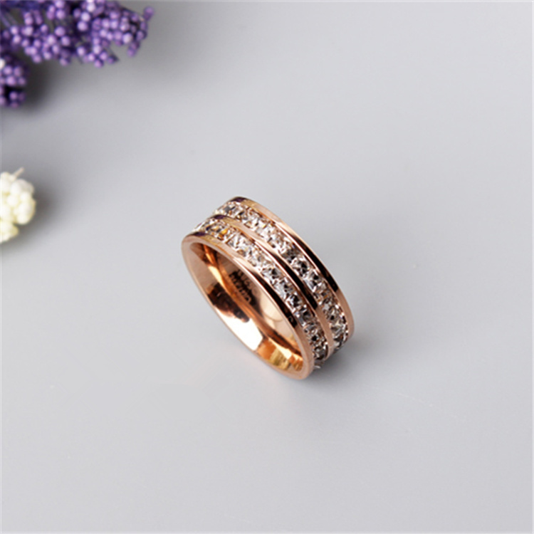 South Korea titanium Steel ring female 18K rose gold double row