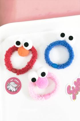 韩国大眼睛卡通发圈发绳糖果色甜美可爱橡皮筋发饰品学院风头饰