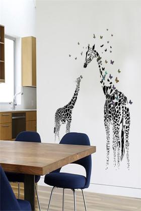 长颈鹿儿童房间幼儿园装饰可移除墙贴纸客厅卧室墙纸贴画$9.8-儿