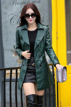 款女士韩版修身中长款皮衣海宁皮U皮风衣大码外套$238.0-大码女士图片
